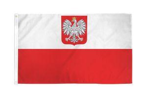 Nylon Poland Flag (With Eagle) - 3 ft X 5 ft