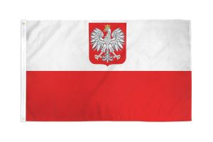 Nylon Poland Flag (With Eagle) - 4 ft X 6 ft