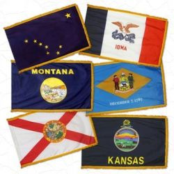 Complete Set of 50 Fringed Nylon Indoor/Parade State Flags - 3 ft X 5 ft