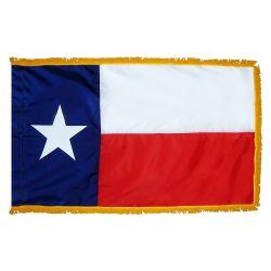 4' X 6' Nylon Indoor/Parade Texas State Flag - Fringed or Unfringed
