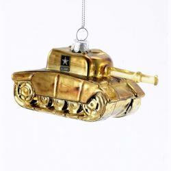 U.S. Army Tank Figurine Glass Ornament