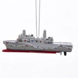 U.S. Navy Ship With Christmas Lights Ornament