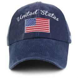 United States Flag Embroidered Cotton Pigment Dyed Baseball Cap