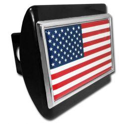 American Flag Black Chrome Hitch Cover