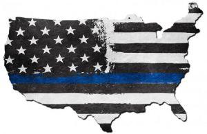 Thin Blue Line USA Map Sign
