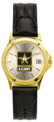 U.S. Army Watch with Deluxe Leather Strap & Date