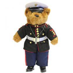 USMC Enlisted Dress Blue Uniform Plush Bear