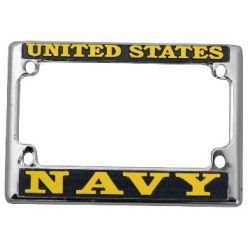 U.S. Navy Chrome Motorcycle License Frame