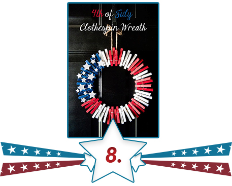 US flag clothespin wreath