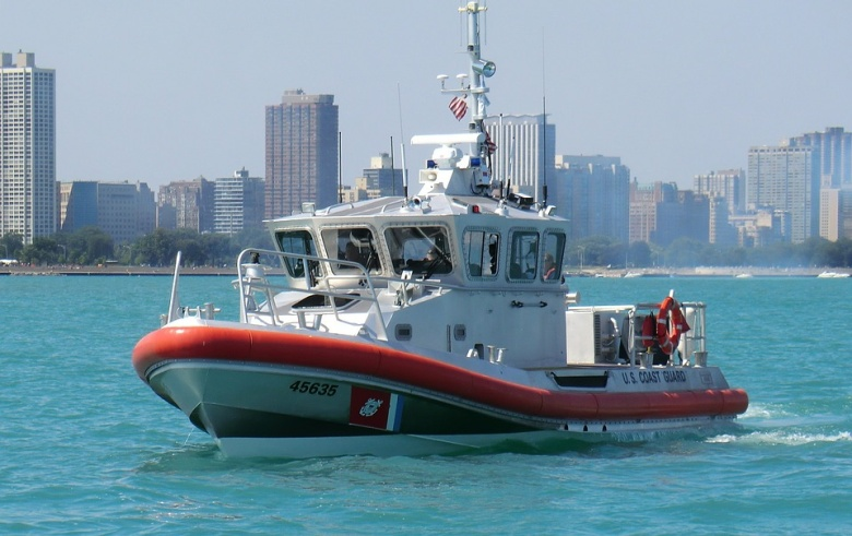 US Coast Guard boat at sea