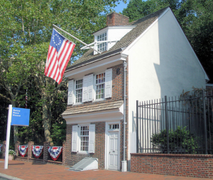 Betsy Ross house with American flag hanging