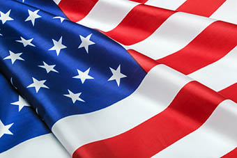Closeup silky American flag