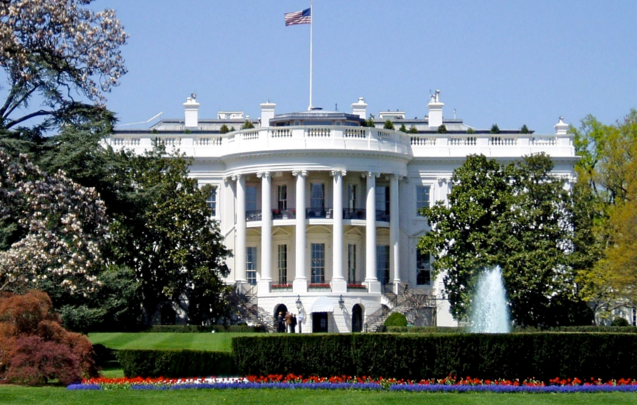 Front view of the White House and its grounds