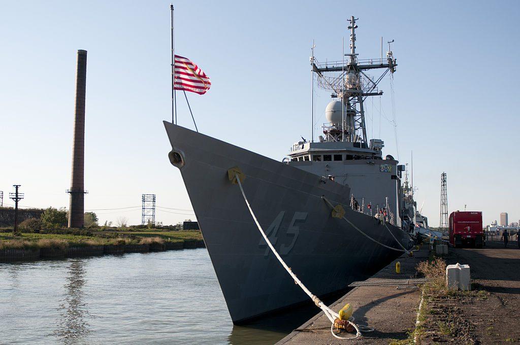 Navy ship at port