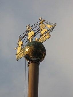 Metal ship decor flagpole