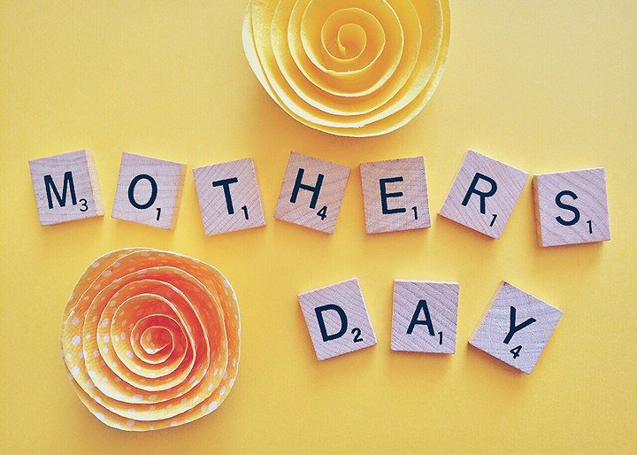 scrabble tiles spelling Mothers Day