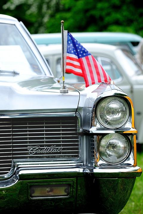 Cadillac with car flag