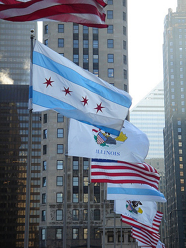 Chicago city flags waving