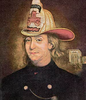 Benjamin Franklin in fireman uniform