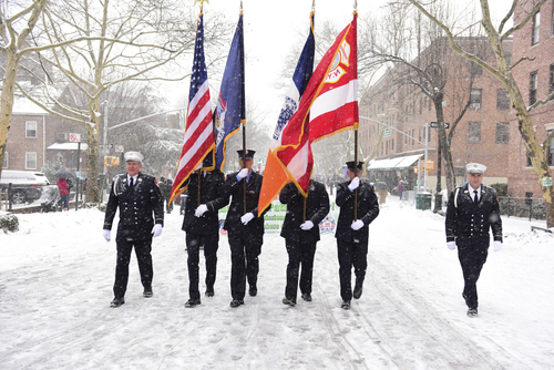 FDNY color guard with flags