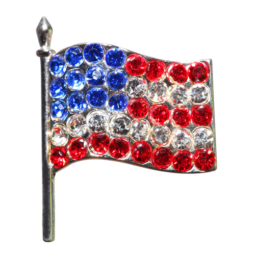 american flag made with rhinestones brooch