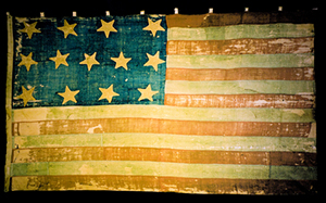 1781 13-star american flag in museum