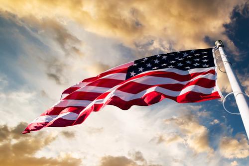 American flag on sky