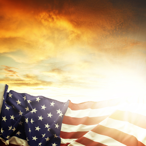 American flag styled with sunset