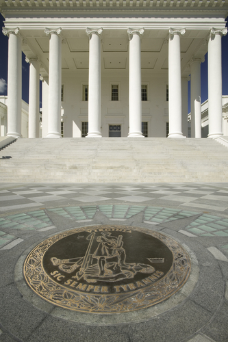 The 2007 restored Virginia State Capitol and the State Seal of Virginia, designed by Thomas Jefferson who was inspired by Greek and Roman Architecture, Richmond, Virginia