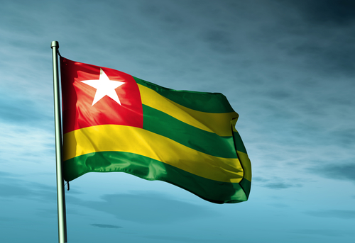 Togo flag waving on the wind