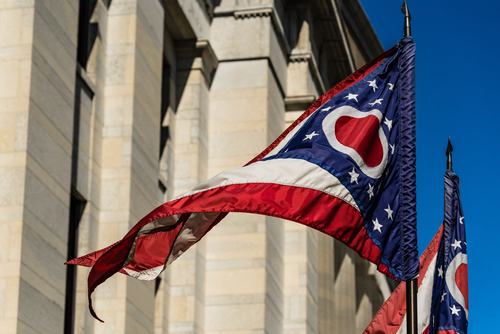 Flag of Ohio Flutters Before the State House