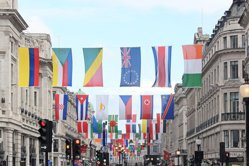 flags of every nation in the forthcoming sports event in London