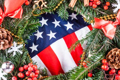 American flag and christmas tree. Greeting card