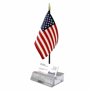 Crystal Card Holder US Flag Display