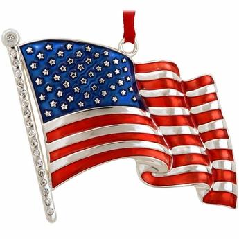 Deluxe Metal U.S. Flag Christmas Ornament