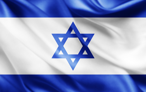 Israel flag of silk