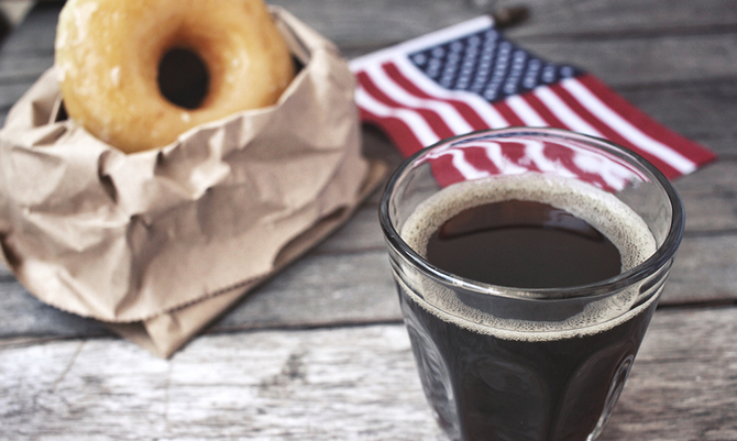 Donut and coffee with american flag