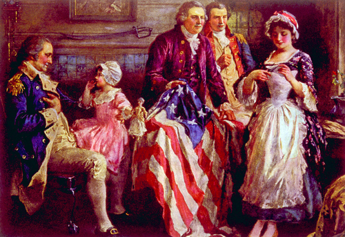 General George Washington, Major George Ross, Robert Morris, Betsy Ross with the first American flag