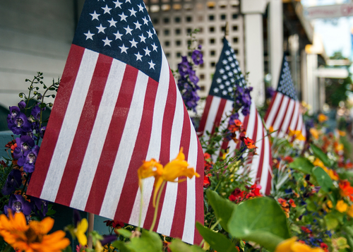 american flags flowers fourth of july