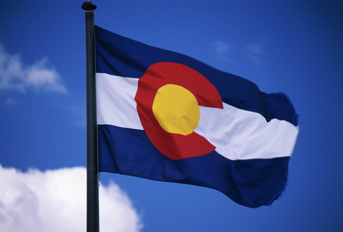colorado state flag waving outdoors