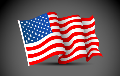 waving american flag 3D