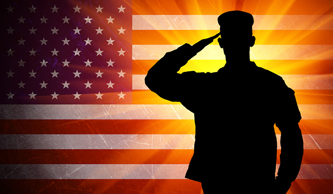 saluting military soldier silhouette american flag