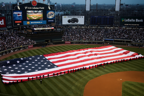 Large American Flag White Sox World Series Championship Celebration