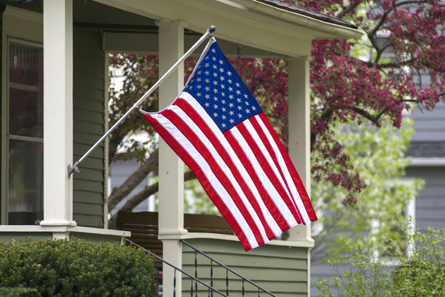 american flag out during springtime