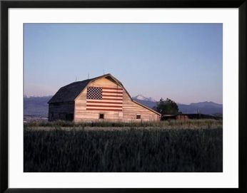 framed photo shed american flag