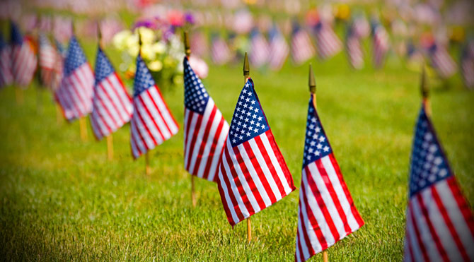 memorial day flags cemetery