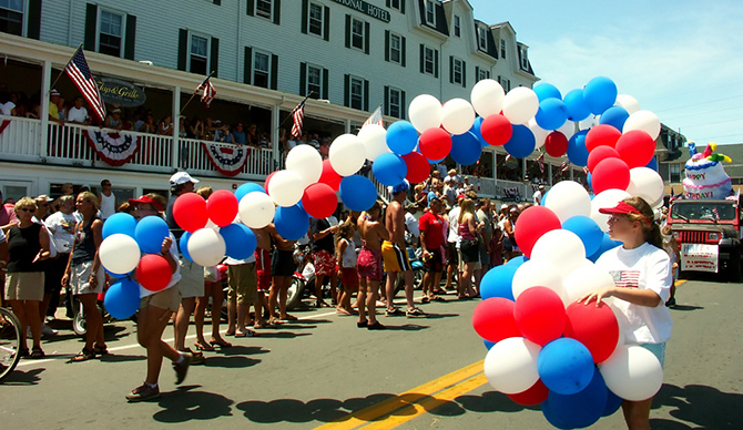 parade celebration red white blue balloons