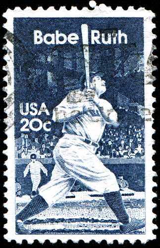 stamp printed in United States of America shows baseball great Babe Ruth