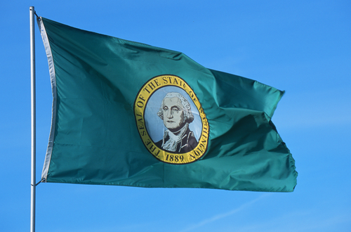 state flag of washington flying