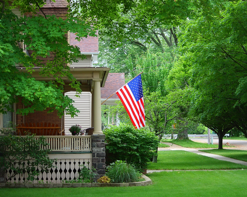 united states flag home porch